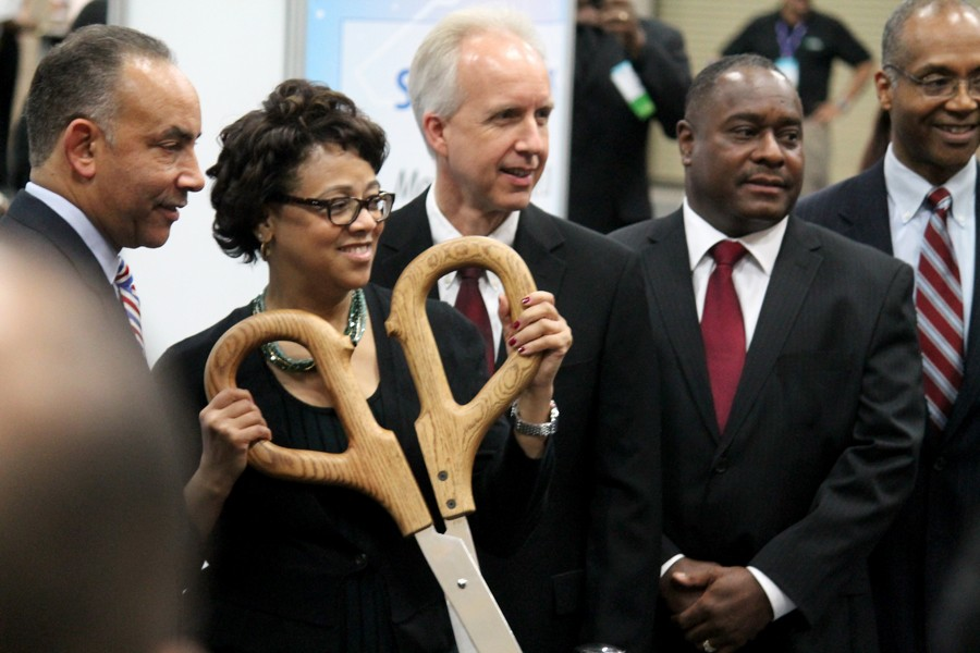 President, Joset Wright-Lacy at the ribbon cutting.
