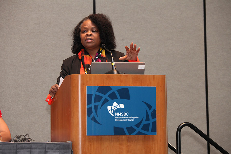 "Panelist Janice Greene (The Boeing Company) at the ""Innovation: Transforming the Landscape"" Workshop"